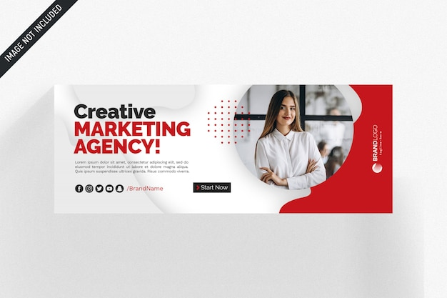 White and red facebook business cover Premium Psd