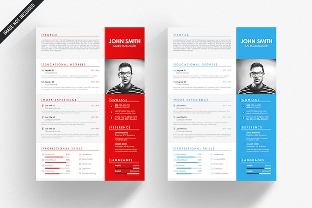 White resume template with blue and red details Premium Psd