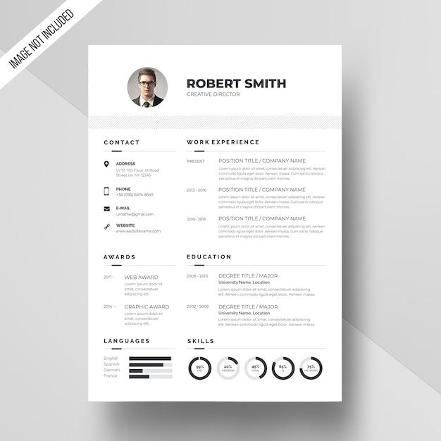 White resume template Premium Psd