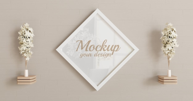 White rhombus frame mockup on the wall Premium Psd