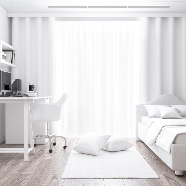 机とベッドのモックアップと白い部屋 無料 Psd