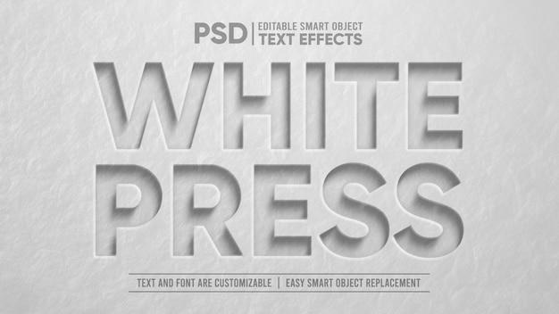 White stone press 3d editable smart object text effect Premium Psd