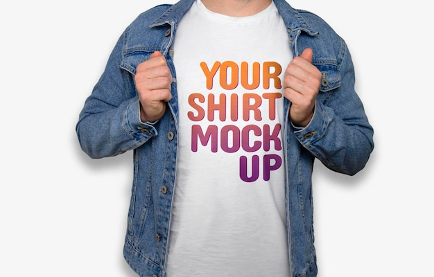 White t-shirt model mockup Free Psd