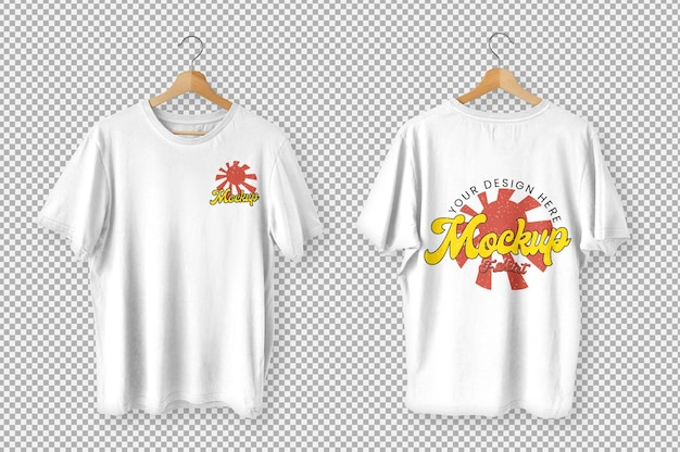 White t-shirts front and back view mockup Free Psd