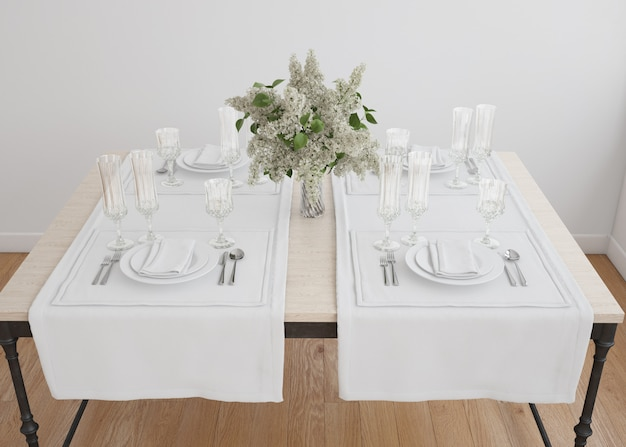 White table setting with flower vase Free Psd