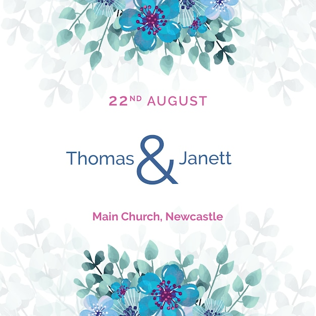 White wedding invitation with blue flowers template Free Psd