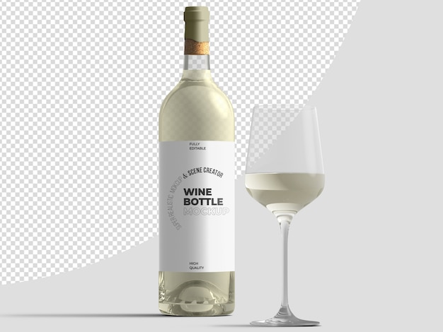 White wine bottle with glass mockup template Premium Psd