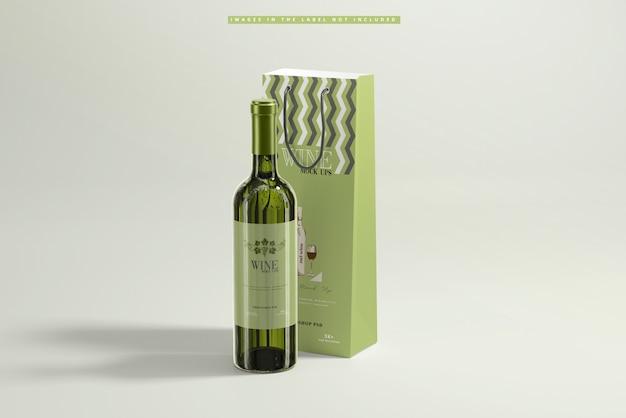 White wine with paper bag mockup Premium Psd