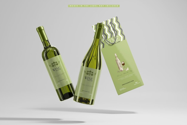 White wine with paper bag mockup Premium Psd