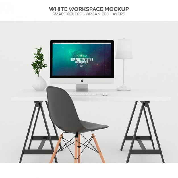 White Workspace Mock Up Psd File Free Download