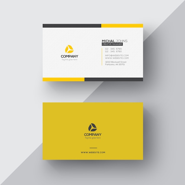 Embossed Logo Mockup On White Business Card: White And Yellow Business Card