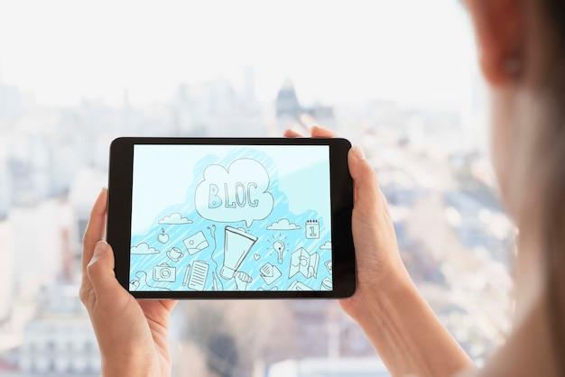 Wi-fi соединение для макета планшета Бесплатные Psd