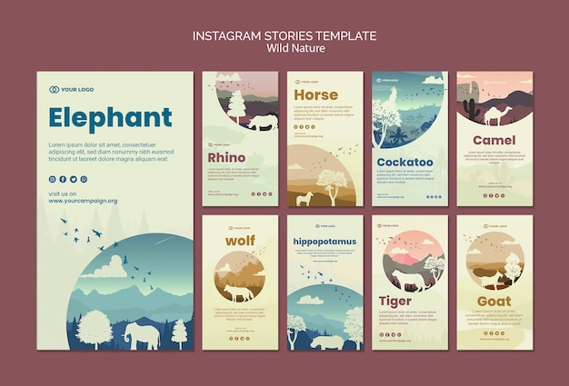 Wild animals in nature instagram stories Free Psd