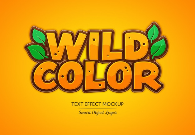 Wild color text effect mockup Premium Psd