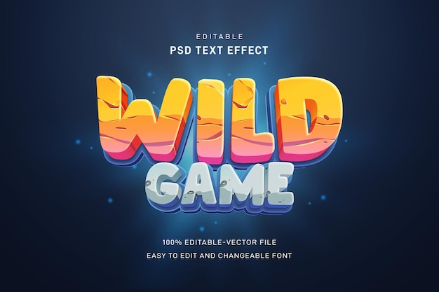 Wild game text effect template Premium Psd