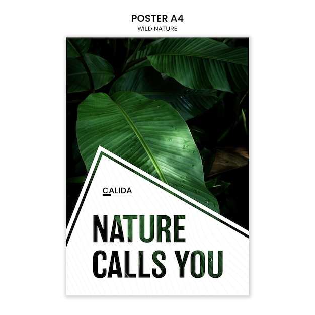 Wild nature a4 poster template Free Psd