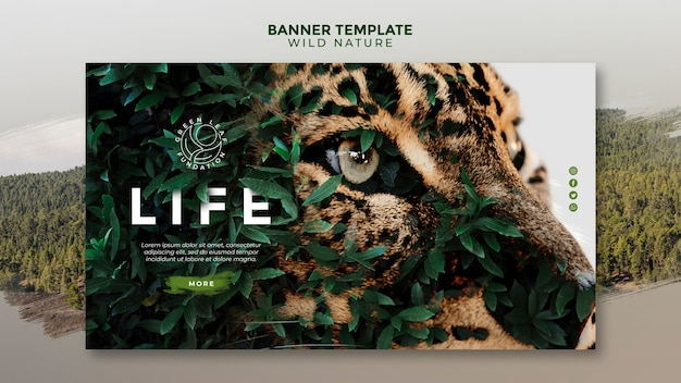 Wild nature beautiful yellow green eyes of a tiger banner template Free Psd