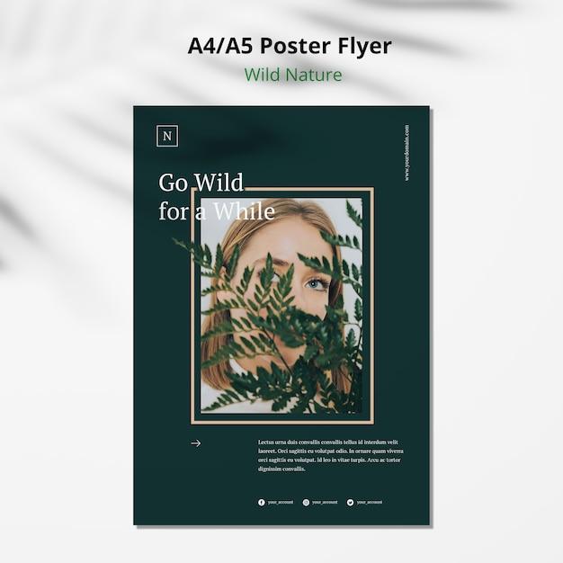 야생의 자연 컨셉 포스터 전단지 모형 무료 PSD 파일