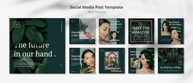 야생의 자연 개념 소셜 미디어 게시물 템플릿 무료 PSD 파일
