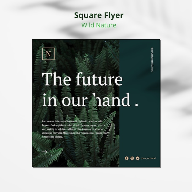 Wild nature concept square flyer mock-up Free Psd