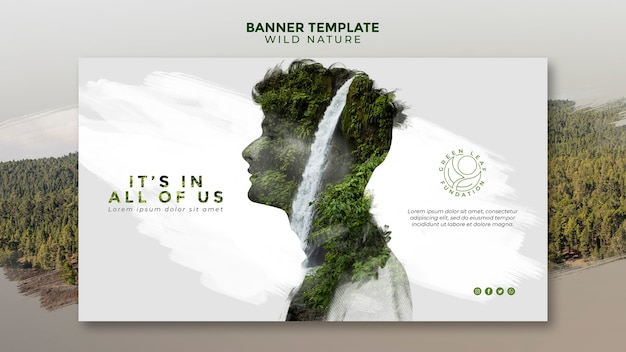 Wild nature man with waterfall design banner template Free Psd