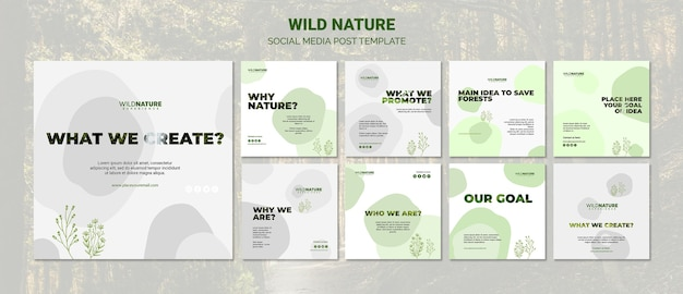 Wild nature social media post template Free Psd