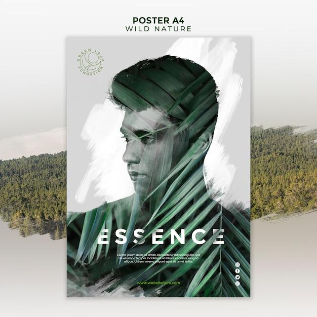 잎 포스터 사이 남자와 야생의 자연 무료 PSD 파일