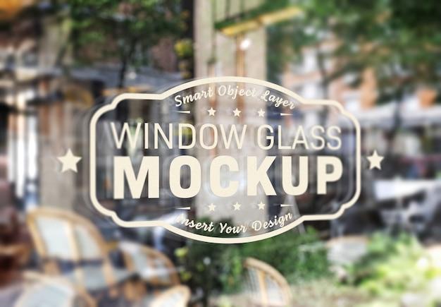 窓ガラスのロゴのモックアップ Premium Psd