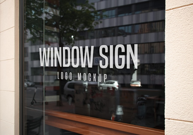 Window sign logo mockup Premium Psd