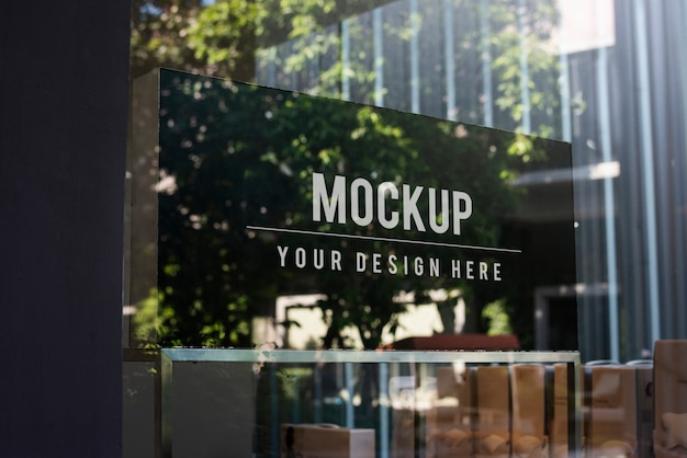 Window Sign Mockup In A Shop Psd File Free Download