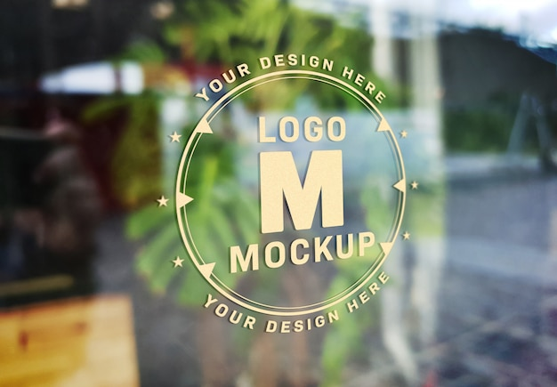 Window signage text effect mockup Premium Psd