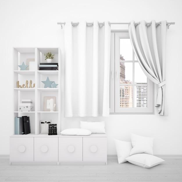 Окно с белыми занавесками и минималистской мебелью Бесплатные Psd