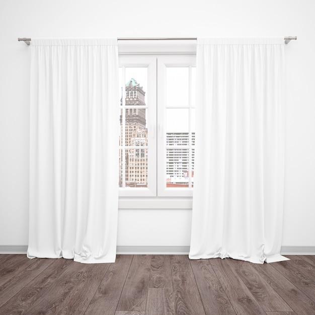 Окно с белыми занавесками, пустая комната с деревянным полом Бесплатные Psd
