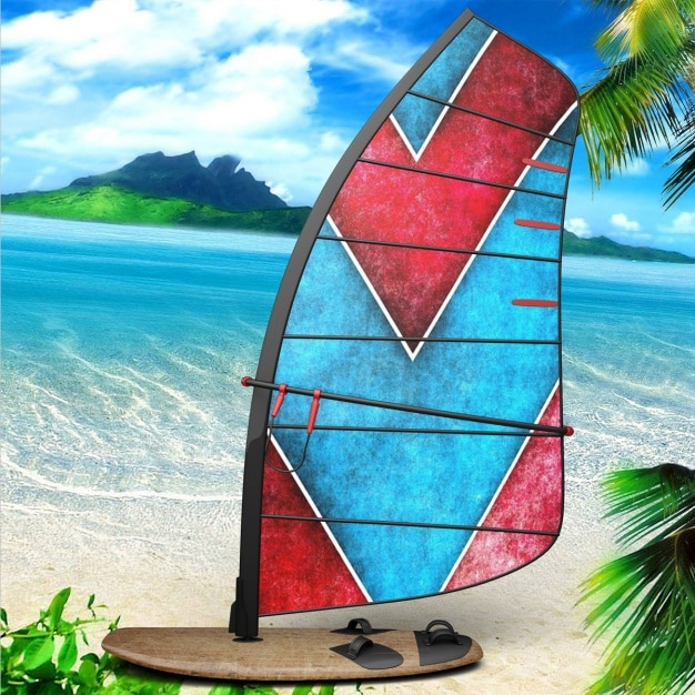 Windsurf board presentation design Free Psd