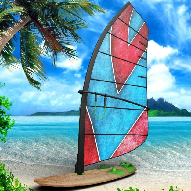 Windsurf board presentation design Free Psd