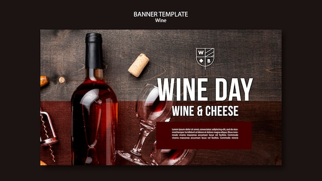 Wine banner template theme Free Psd