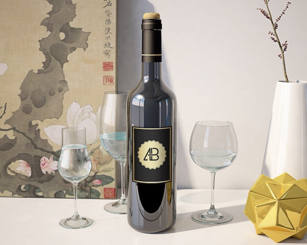 Wine bottle mock up Free Psd