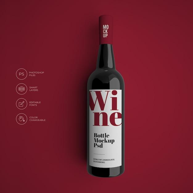 Винная бутылка макет премиум psd Premium Psd