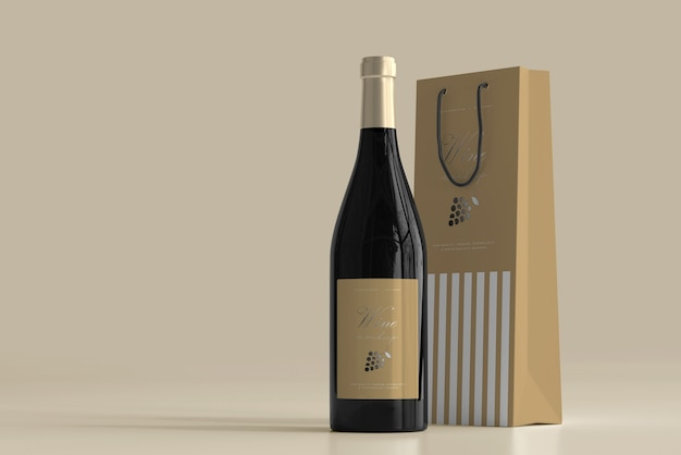 Мокап бутылки вина с сумкой Бесплатные Psd