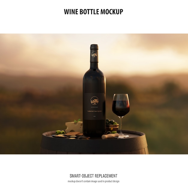 Wine bottle mockup Free Psd