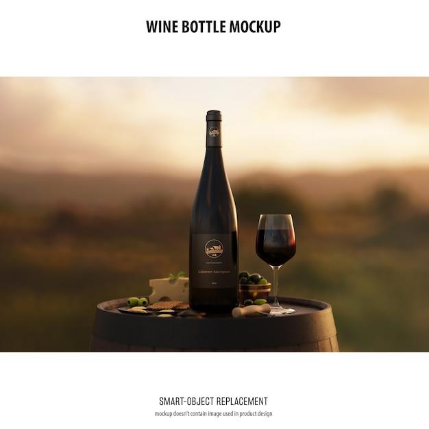 Bottiglia di vino mockup Psd Gratuite