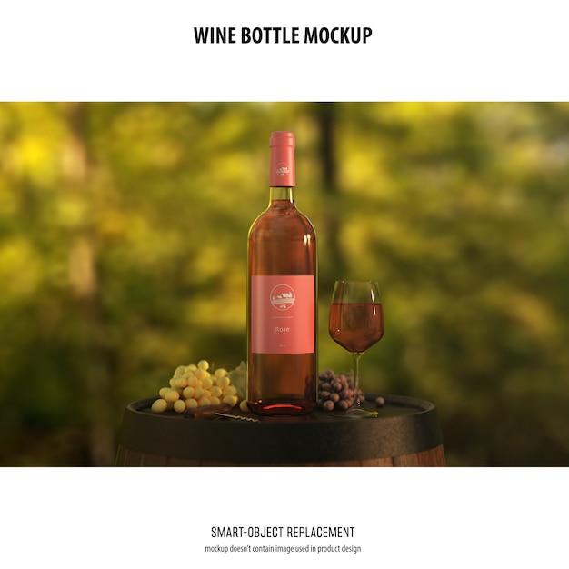 와인 병 이랑 무료 PSD 파일