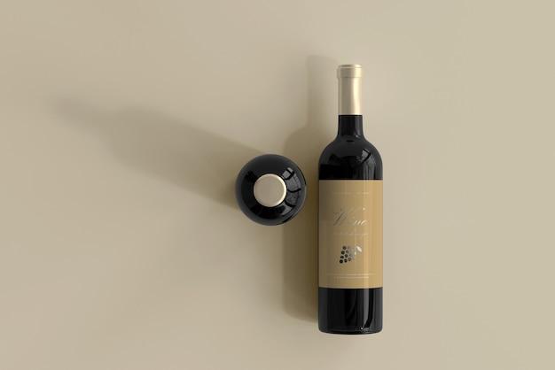 Мокап бутылки вина Бесплатные Psd