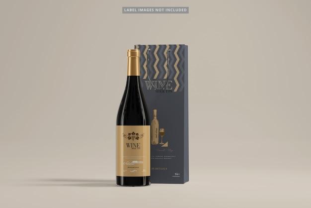 Wine bottle with shopping bag mockup Premium Psd