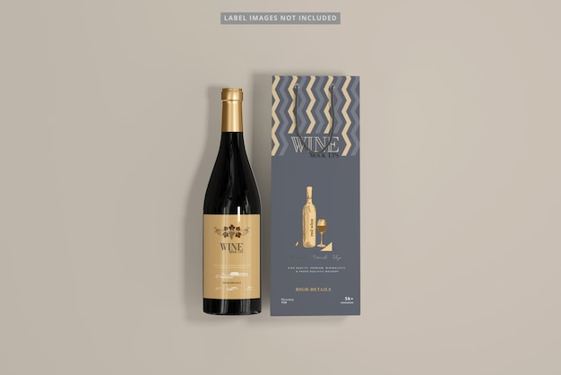 Wine bottle with shopping bag mockup Premium Psd