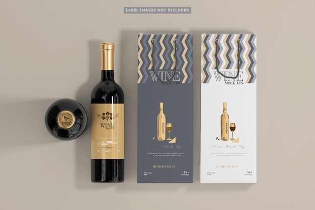 Wine bottles with shopping bags mockup Premium Psd