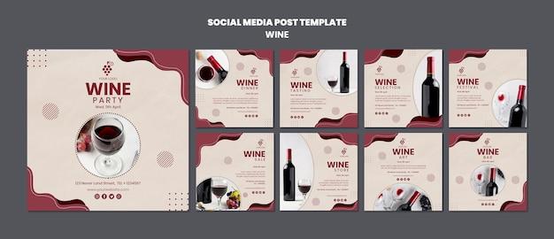Modello di post social media concetto di vino Psd Gratuite