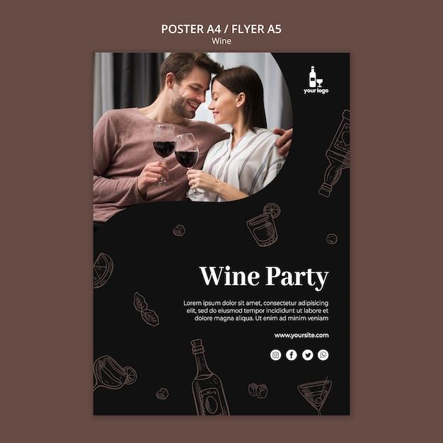 Шаблон дизайна винного флаера Бесплатные Psd