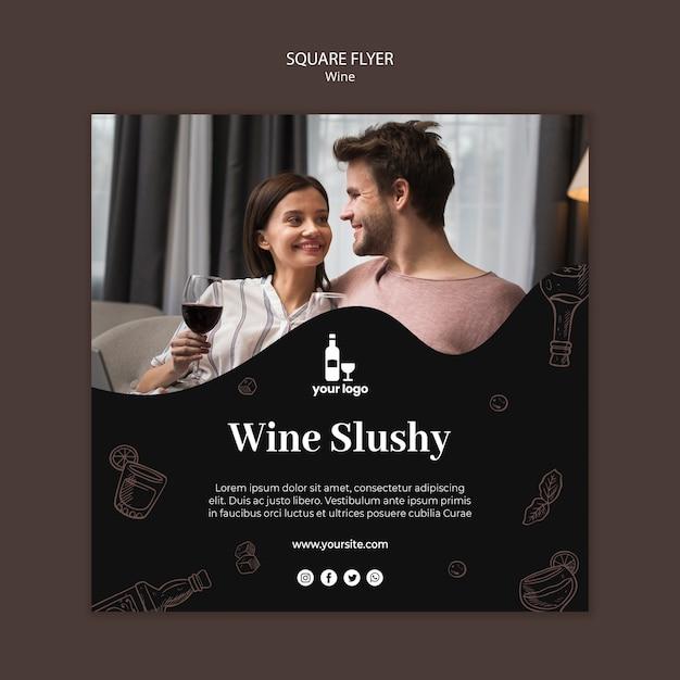Tema del modello di volantino di vino Psd Gratuite