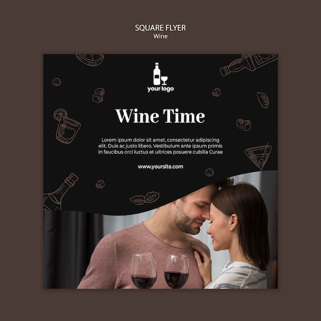 Modello di volantino del vino Psd Gratuite